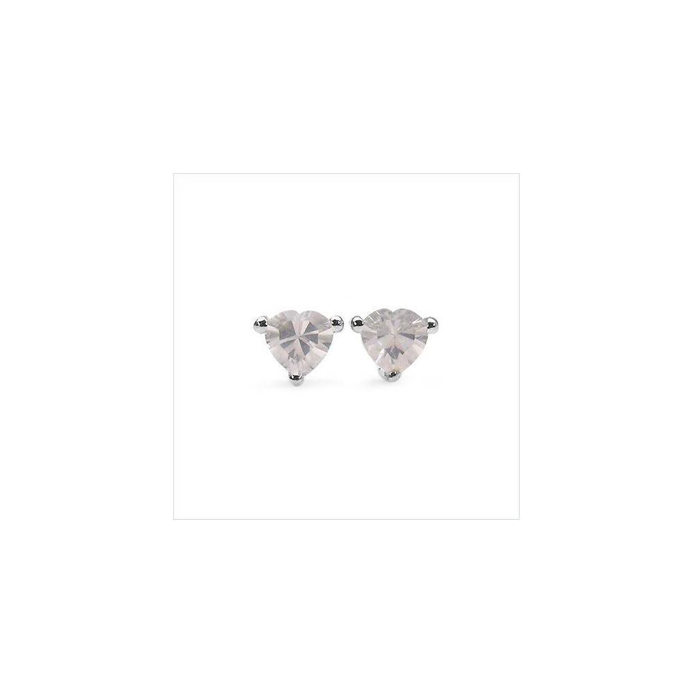 Boucles Manon cœur quartz rose. Argent massif rhodié