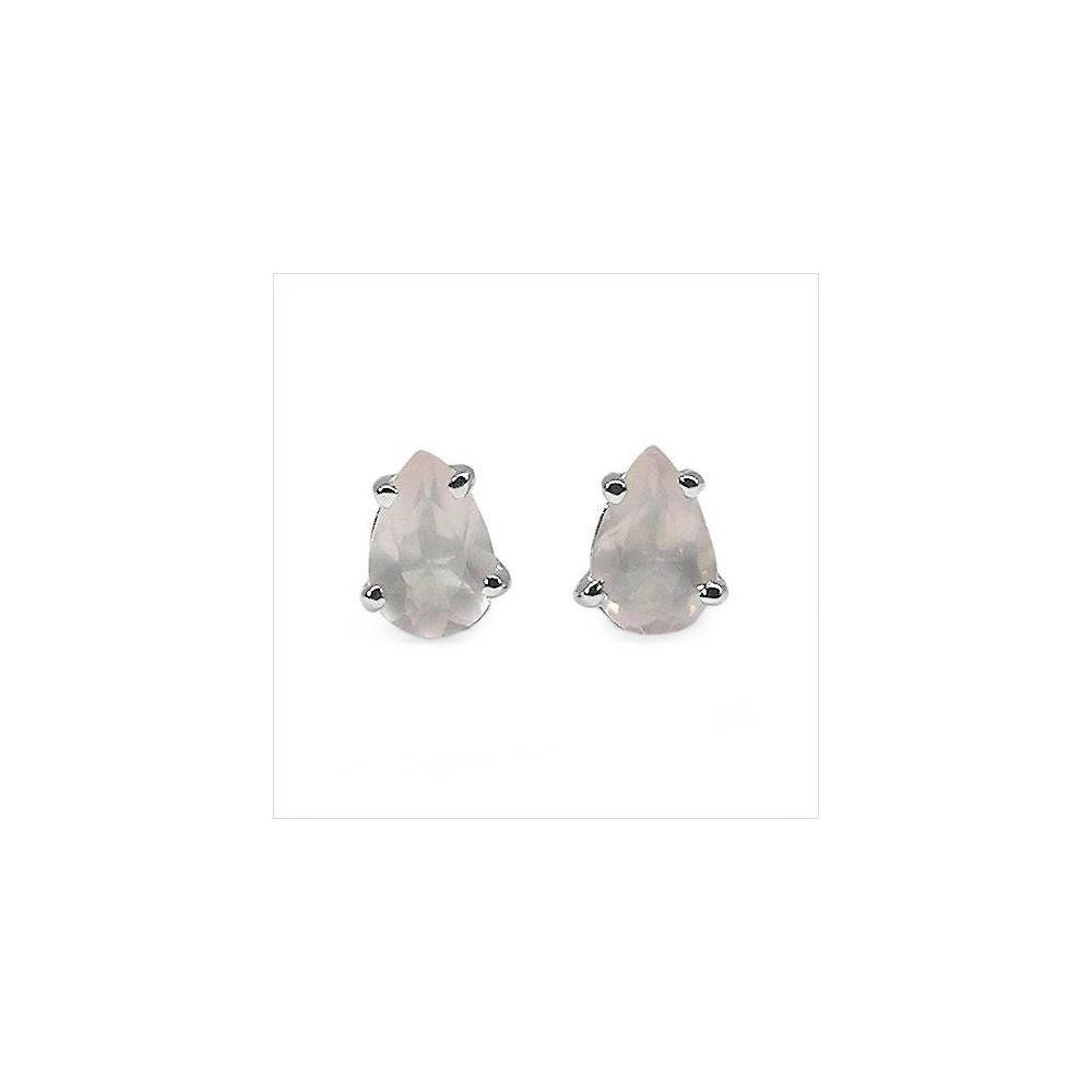 Boucles ISERAN quartz rose. En argent massif rhodié