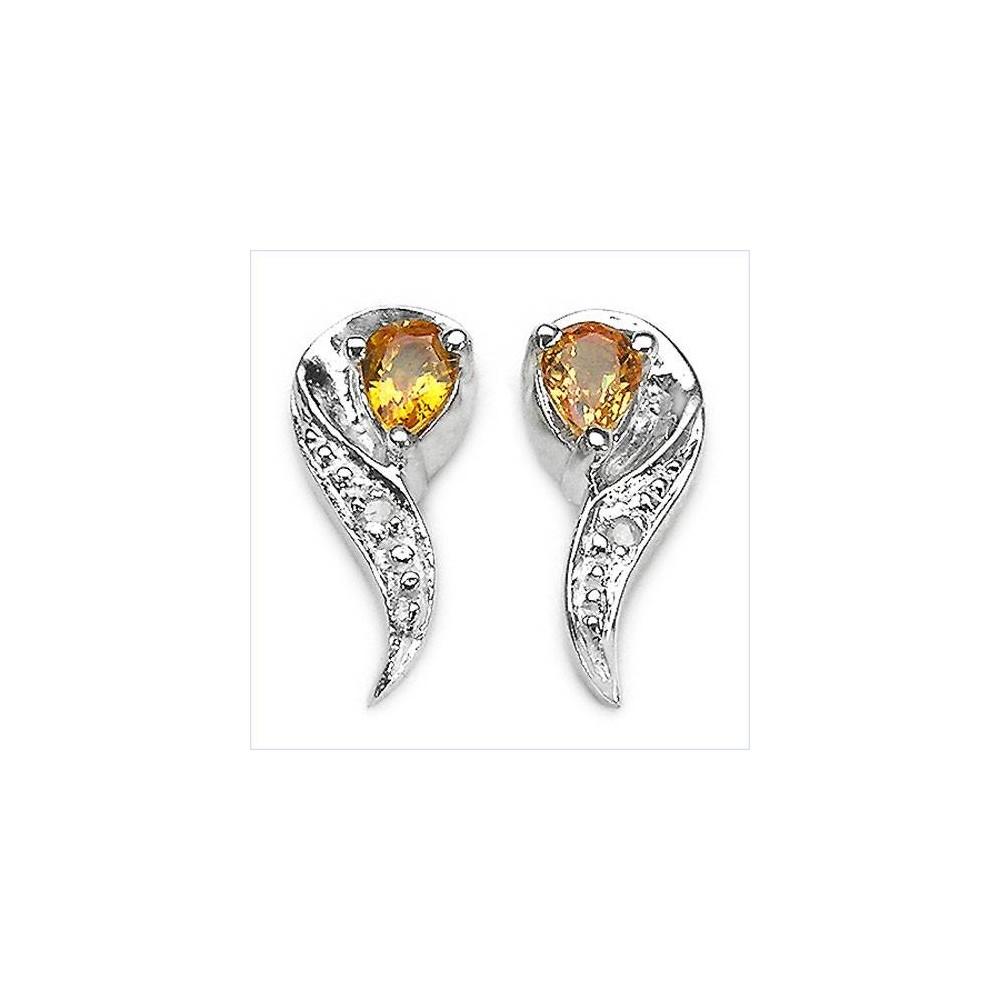Boucles Rivoli saphir jaune et diamant. Argent massif rhodié