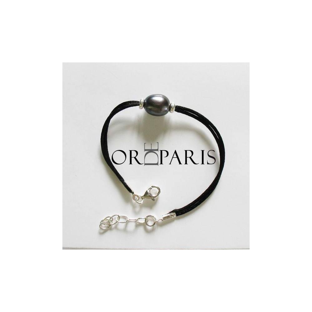 Bracelet Sea Grey Perle d'eau douce gris titane