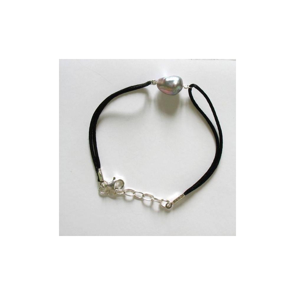 Bracelet Sea Moon Perle keshi aux reflets arc en ciel