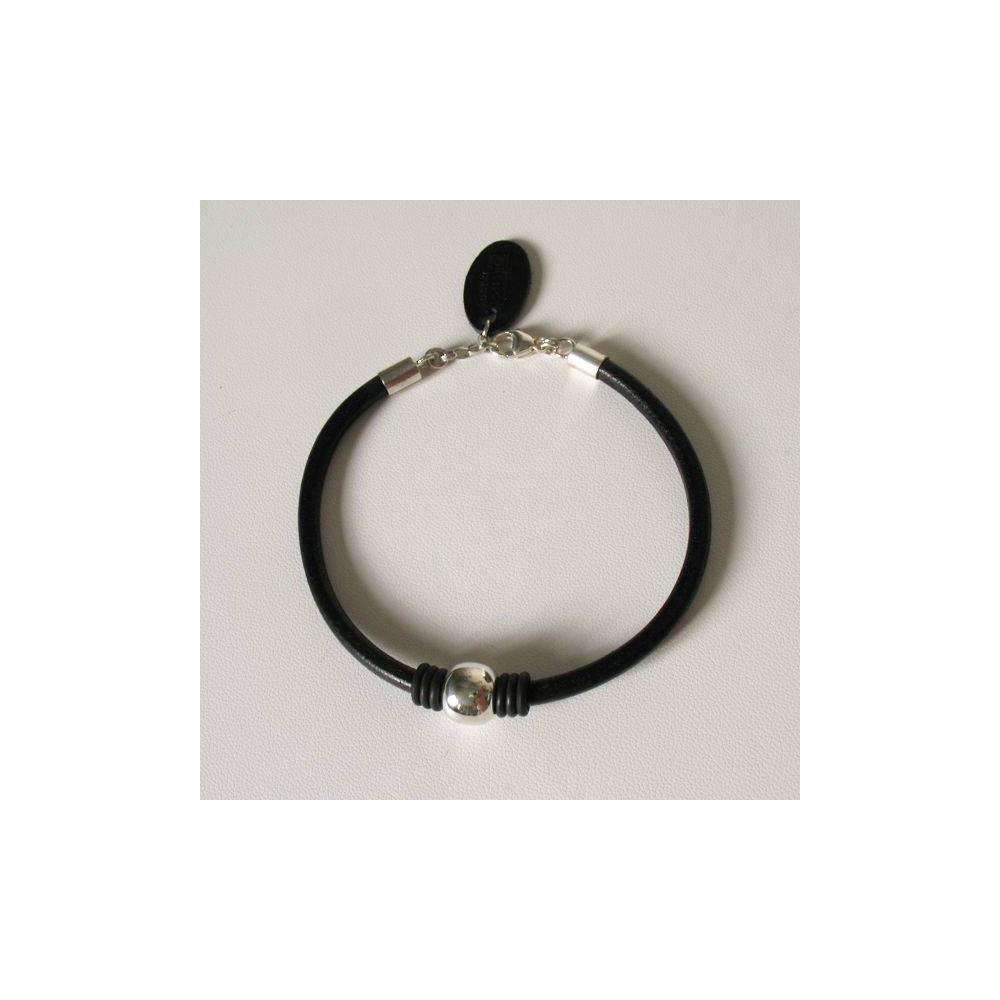 Bracelet Nathan cuir noir et perles argent massif.DOZ