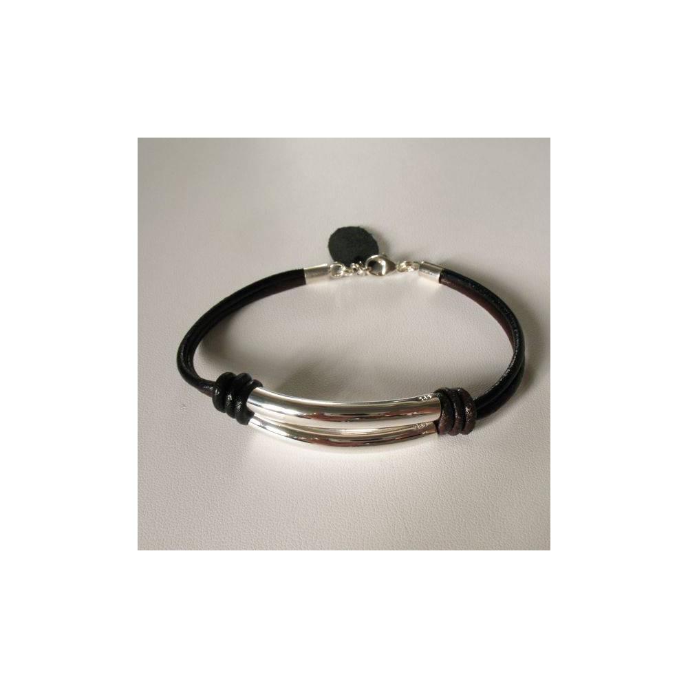 Bracelet Georgio cuir bicolore barres en argent massif poli. DOZ