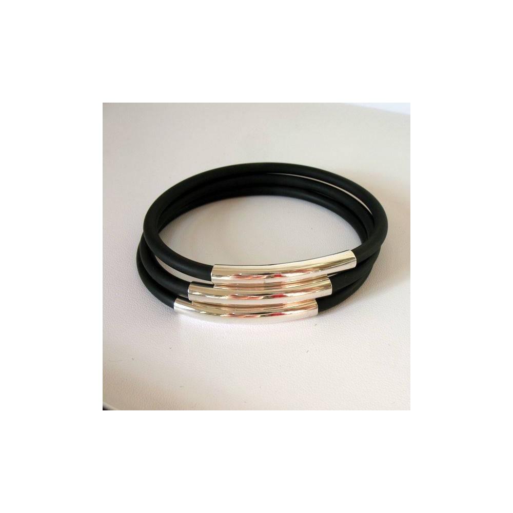 Bracelet Multiple caoutchouc et argent. DOZ