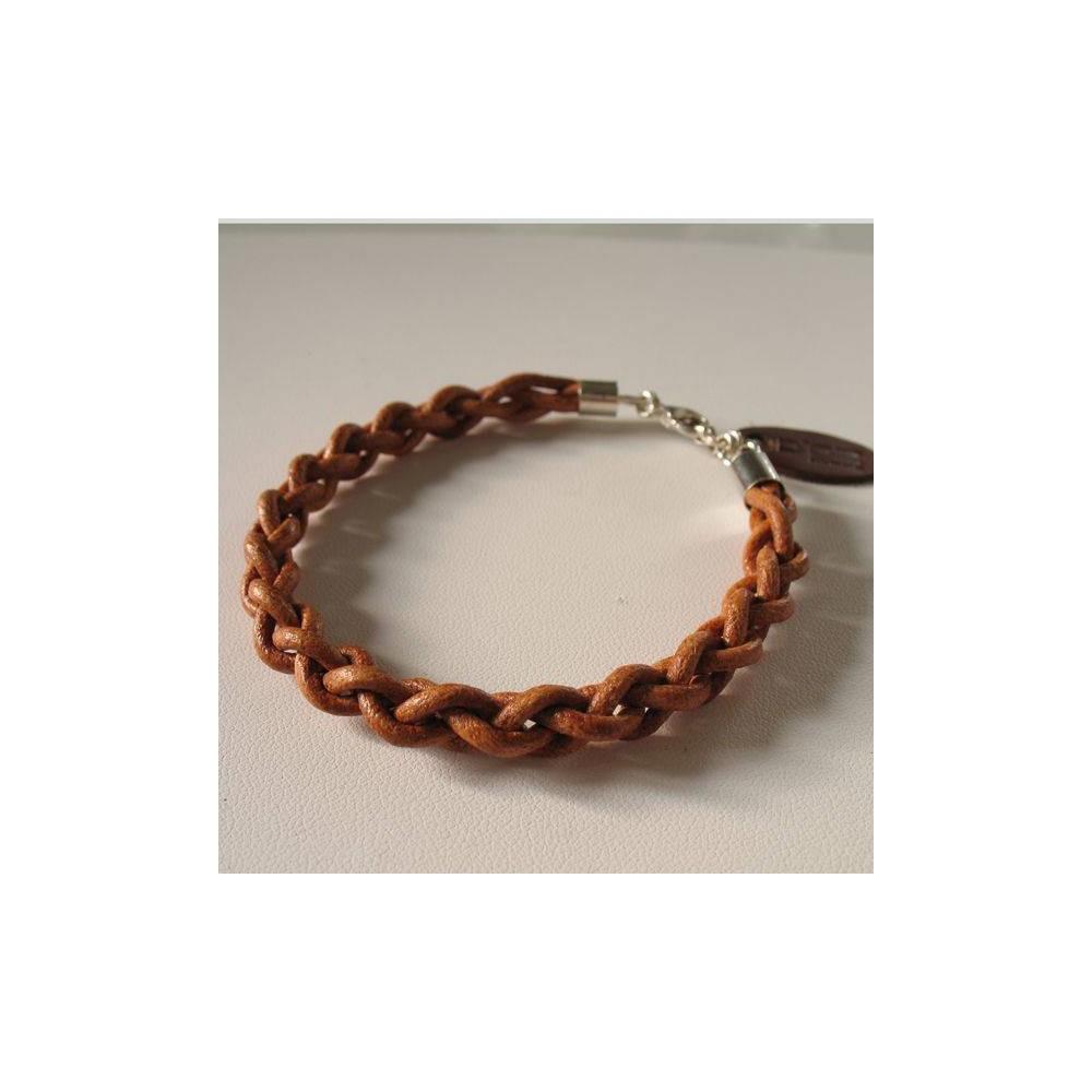 Bracelet Enzo cuir tressé naturel. DOZ
