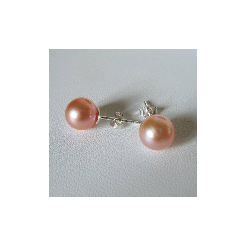 Boucles Nova Perle de culture iriséez. Argent 925