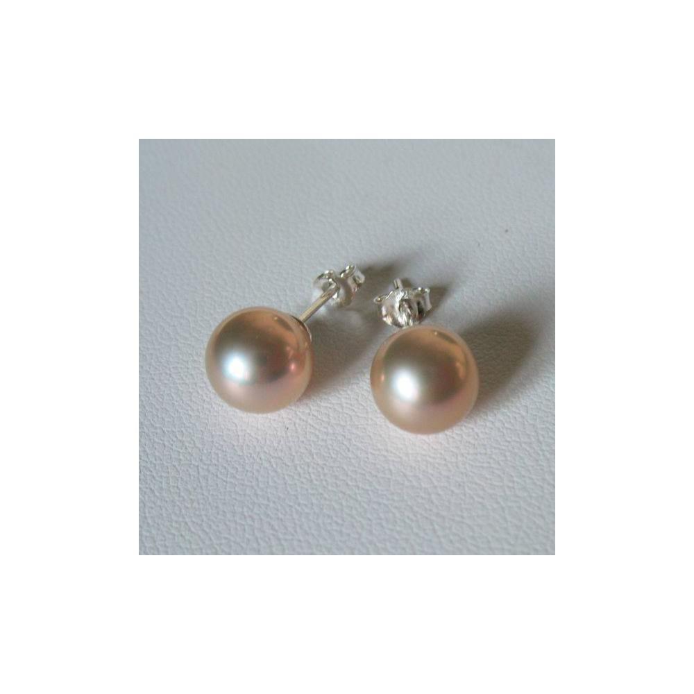 Boucles Nova Perle de culture irisée. Argent 925