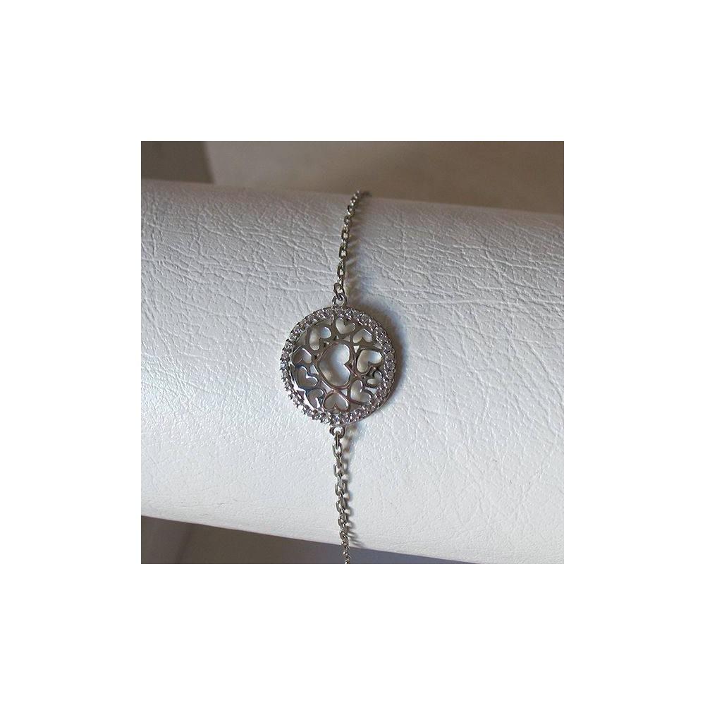 Bracelet Envolée de coeurs. Argent massif