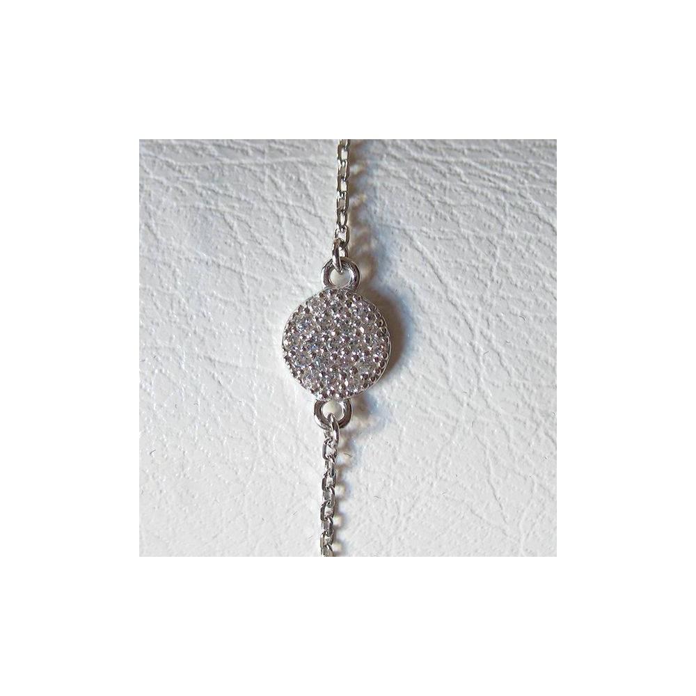 Bracelet confetti blanc noire. Argent massif