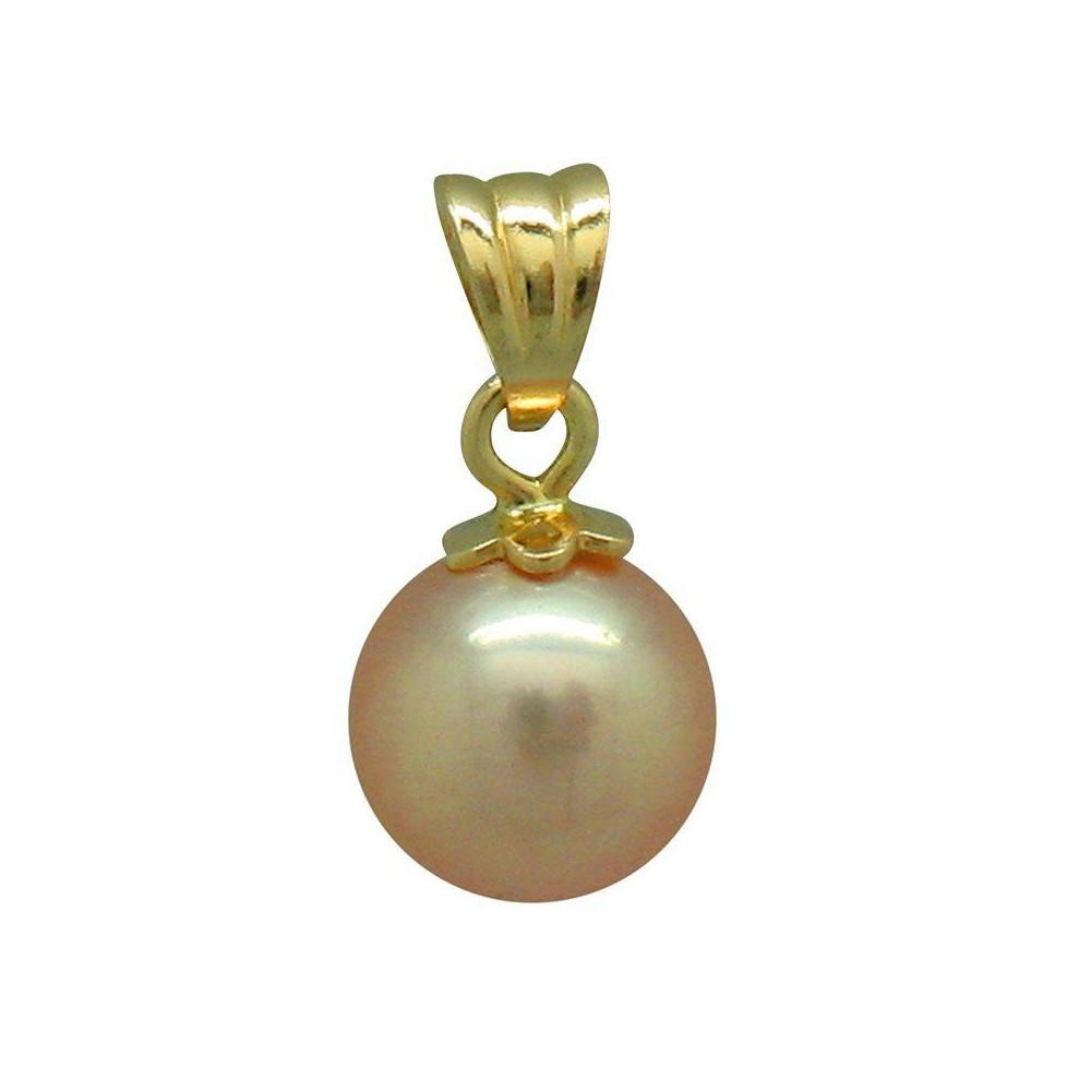 Pendentif VANDA Rose  Perle de culture d'eau douce. Bélière en or 750