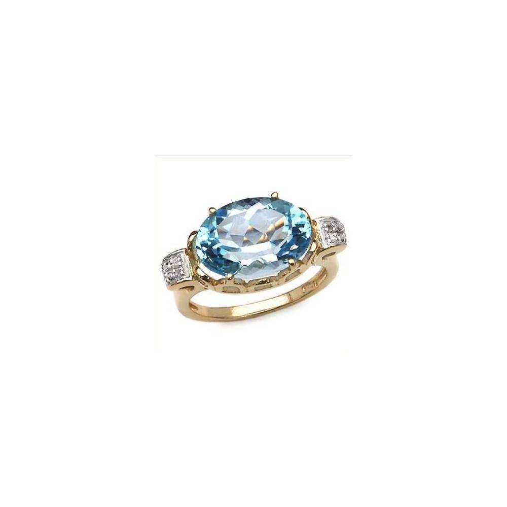 Bague BAIKAL sertie d'une belle topaze bleue et de diamants