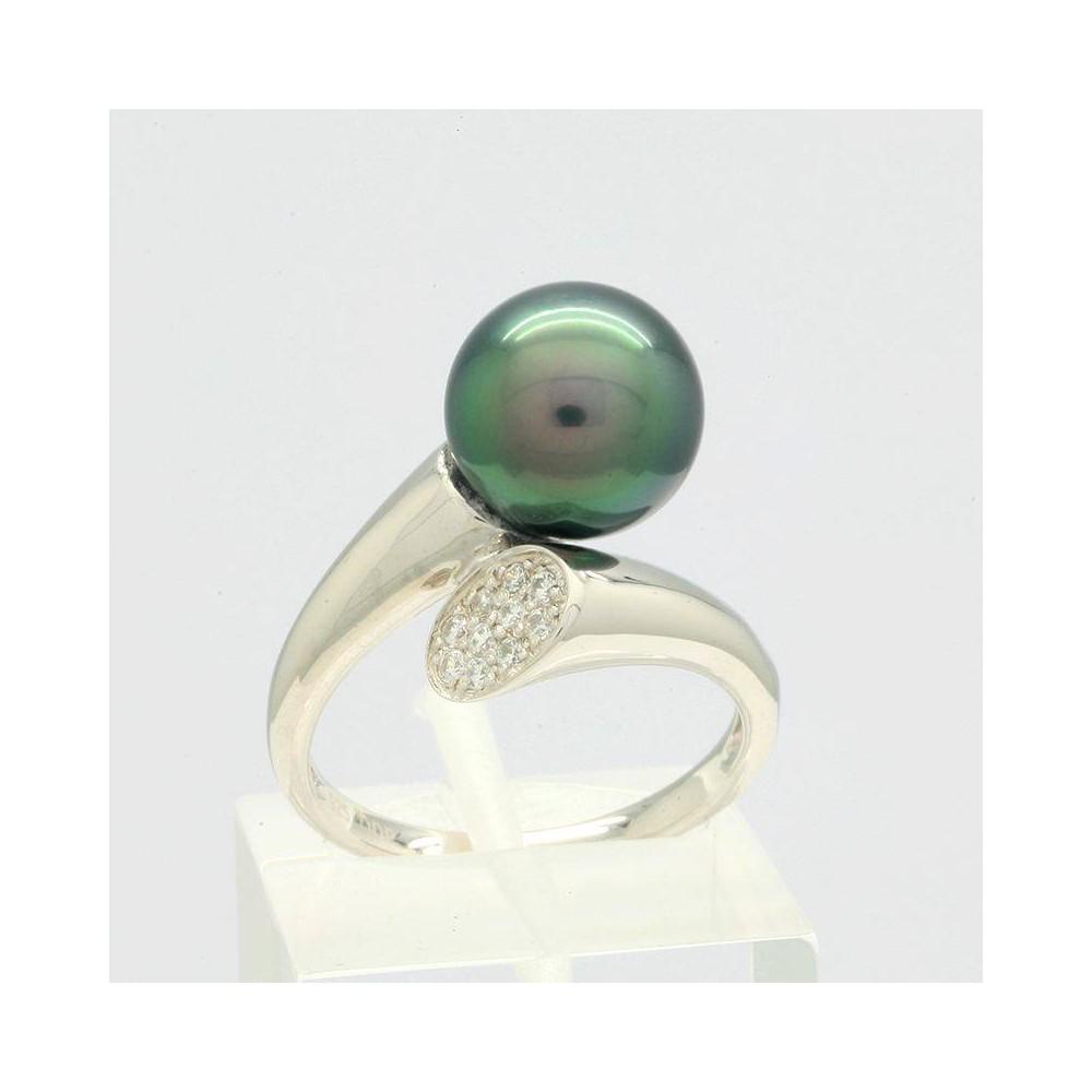 Bague Elma perle de Tahiti 9-10mm. Argent massif 925