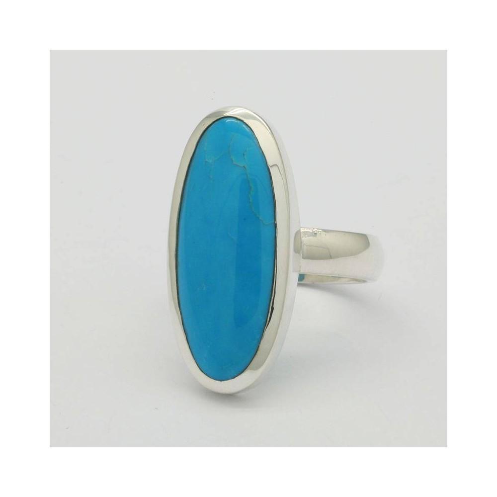Bague IO Turquoise bleue du Tibet. Argent massif 925