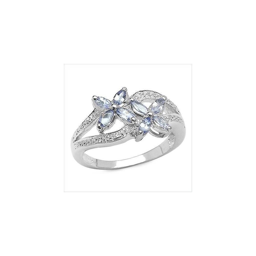 Bague Alexandra tanzanites et diamants. Argent massif rhodié