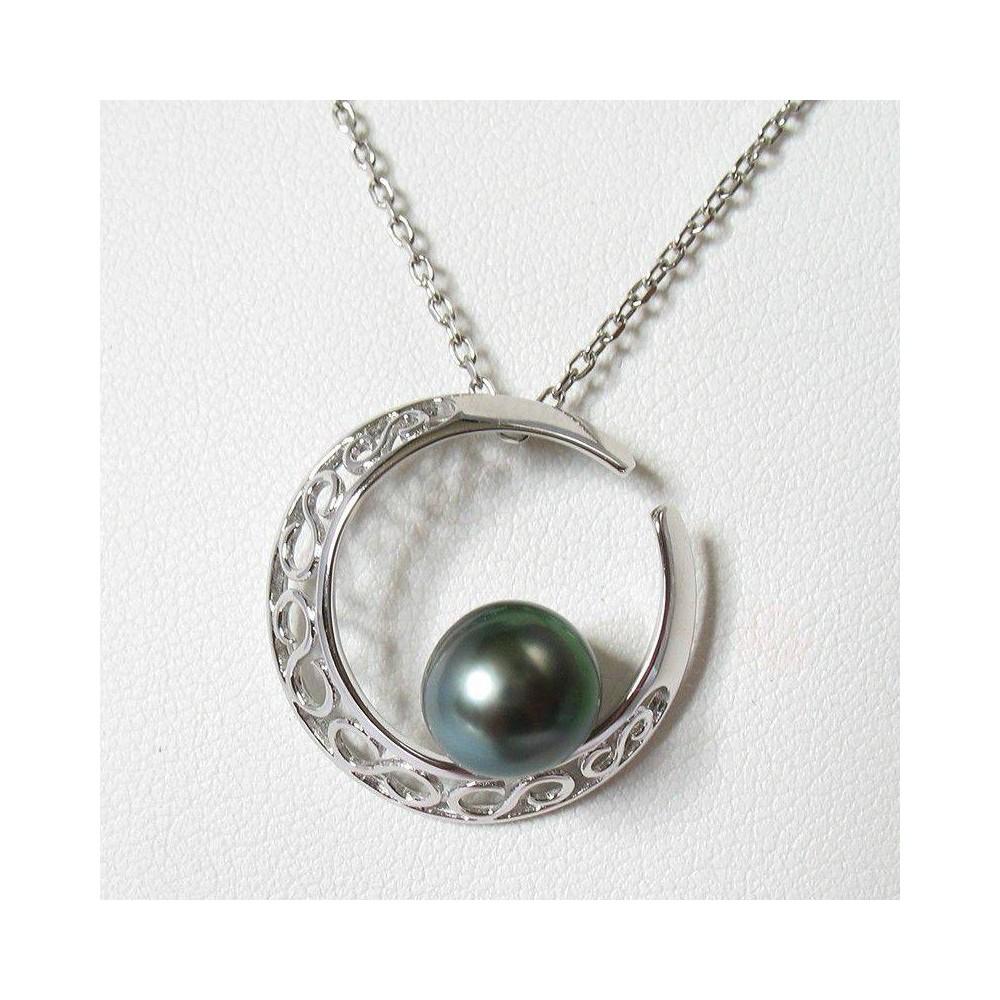 Pendentif Clair de lune en argent 925 et perle de Tahiti.