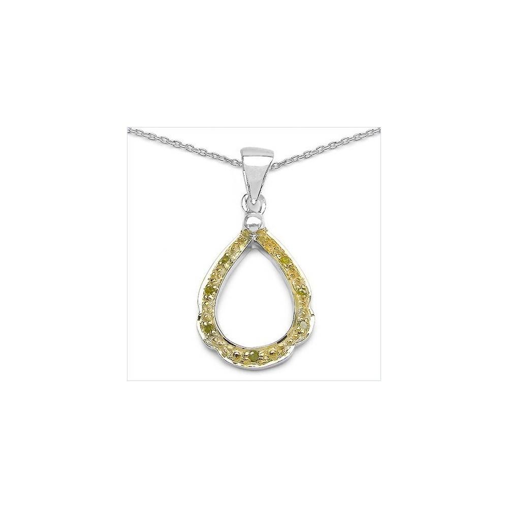 Pendentif Nemès diamants jaunes . Argent massif rhodié