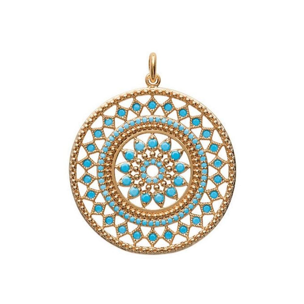 Pendentif Zoroastre en plaqué or et pierres blue nano.