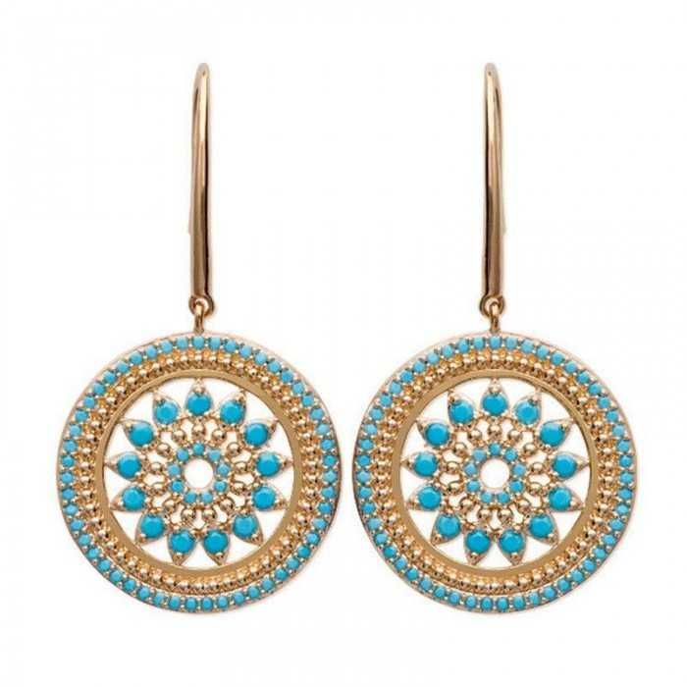Boucles d'oreilles Zoroastre en plaqué or et pierres blue nano.