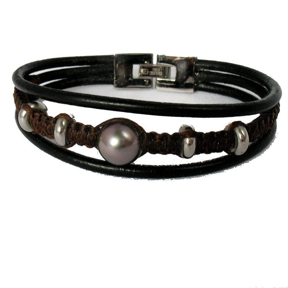 Bracelet TRILAN cuir et perle de Tahiti