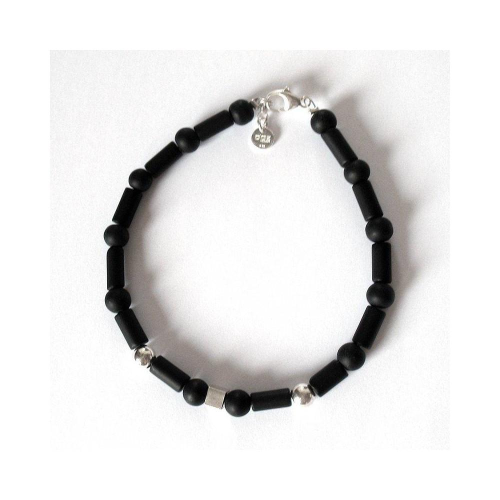 Bracelet Antoine céramique noire et perles argent massif. DOZ