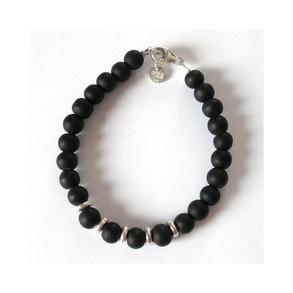 Bracelet Sacha céramique noire et viroles argent massif. DOZ