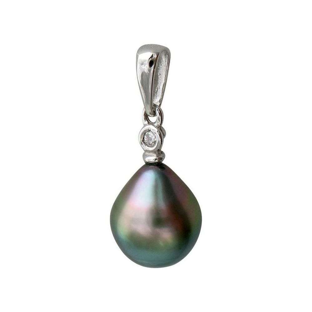 Pendentif  Magnolia Perle de Tahiti et diamant. OR 750