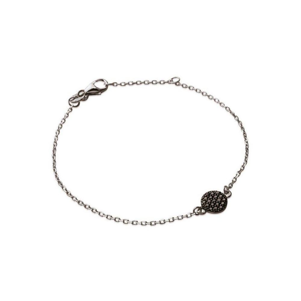 Bracelet Pastille noire. Argent massif