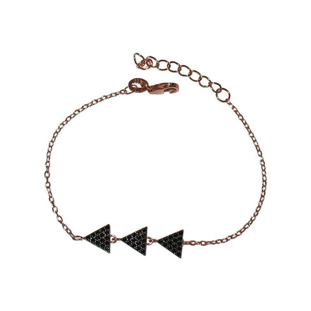 Bracelet TRIO NOIR argent plaqué or rose et zirconium noir