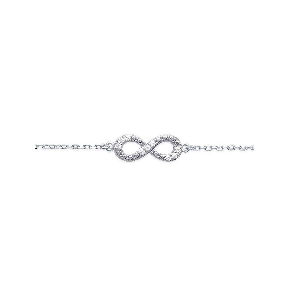 Bracelet Infini blanc. Argent massif