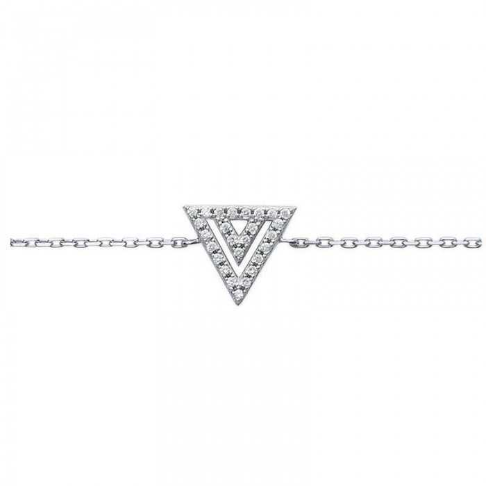 Bracelet triangle.  Argent massif