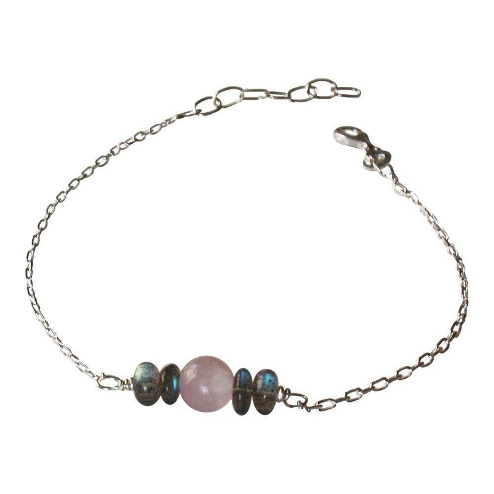 Bracelet Show Quartz rose et labradorites. Argent 925