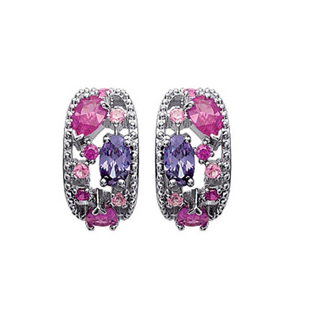 Boucles d'oreilles Harmonie rose en argent massif rhodié