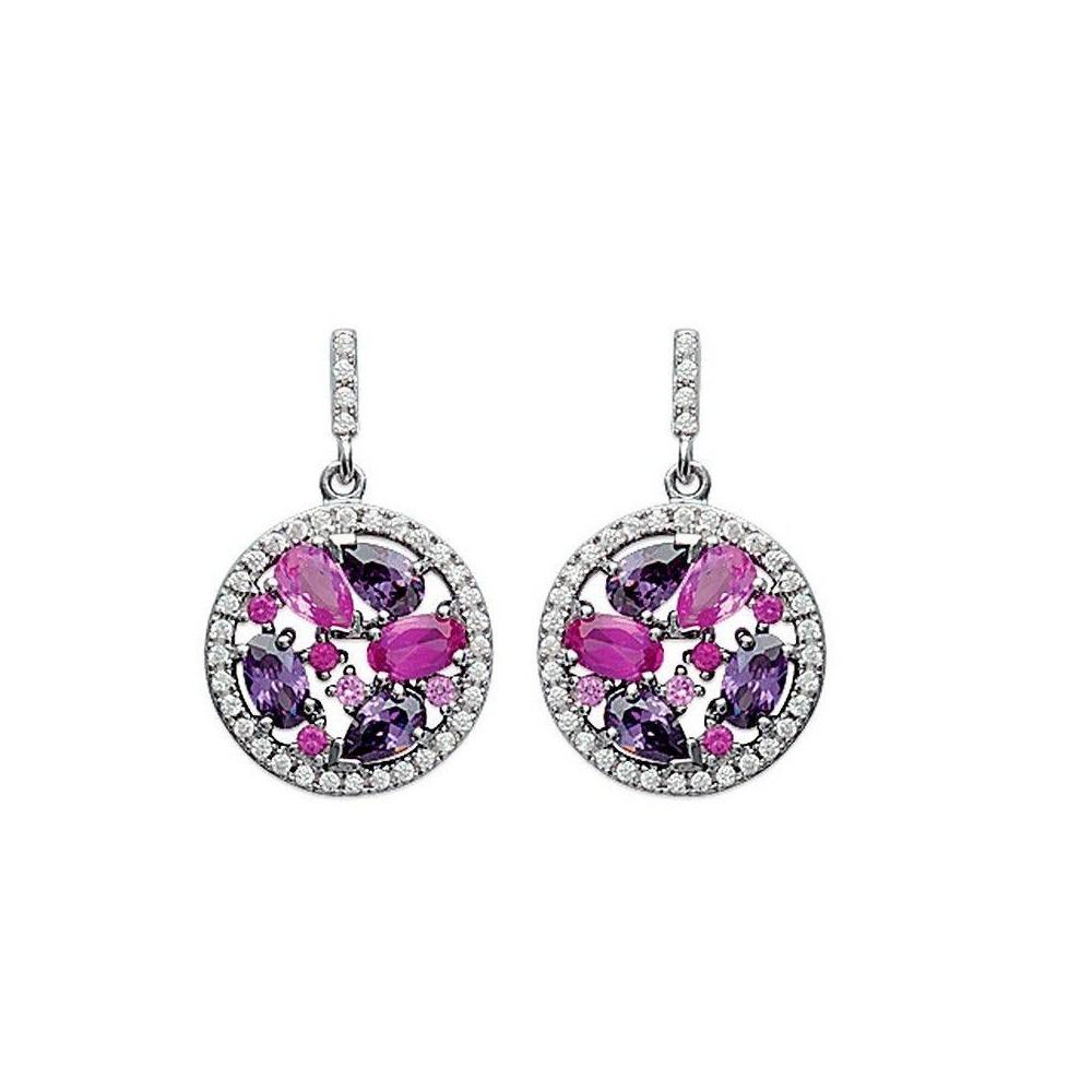 Boucles d'oreilles pendantes Harmonie rose en argent massif rhodié