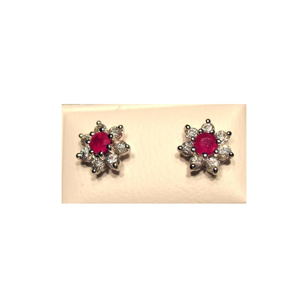 Boucles Colombine rubis  Argent 925