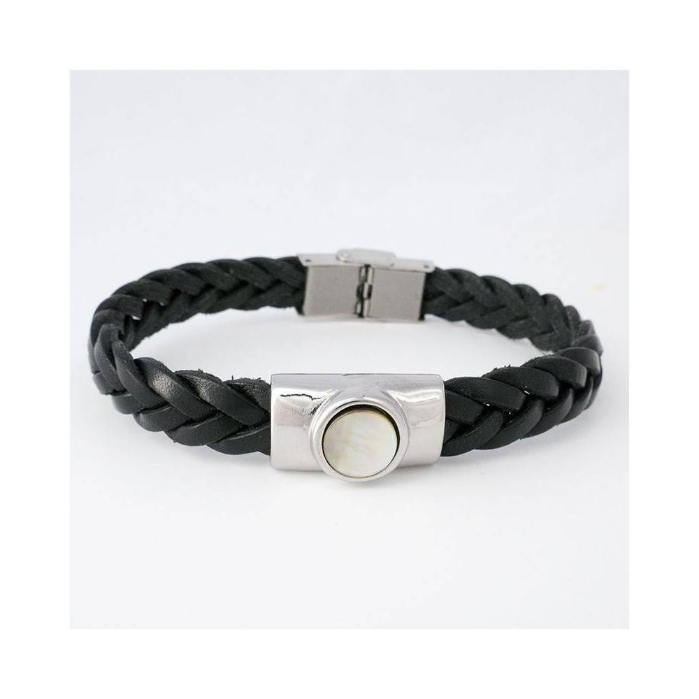 Bracelet BORG cuir tressé et nacre
