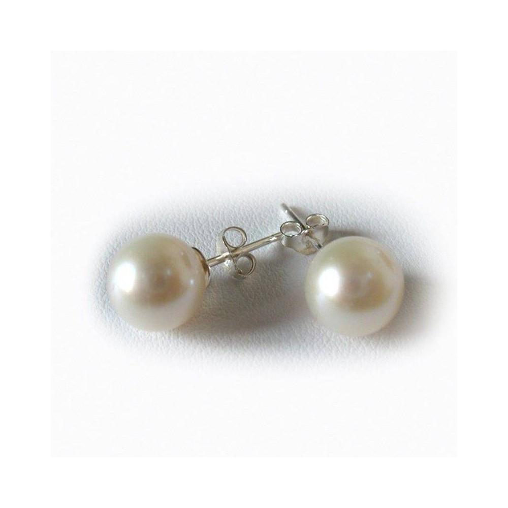 Boucles  Perle de culture blanche 7-7,5mm. Argent 925