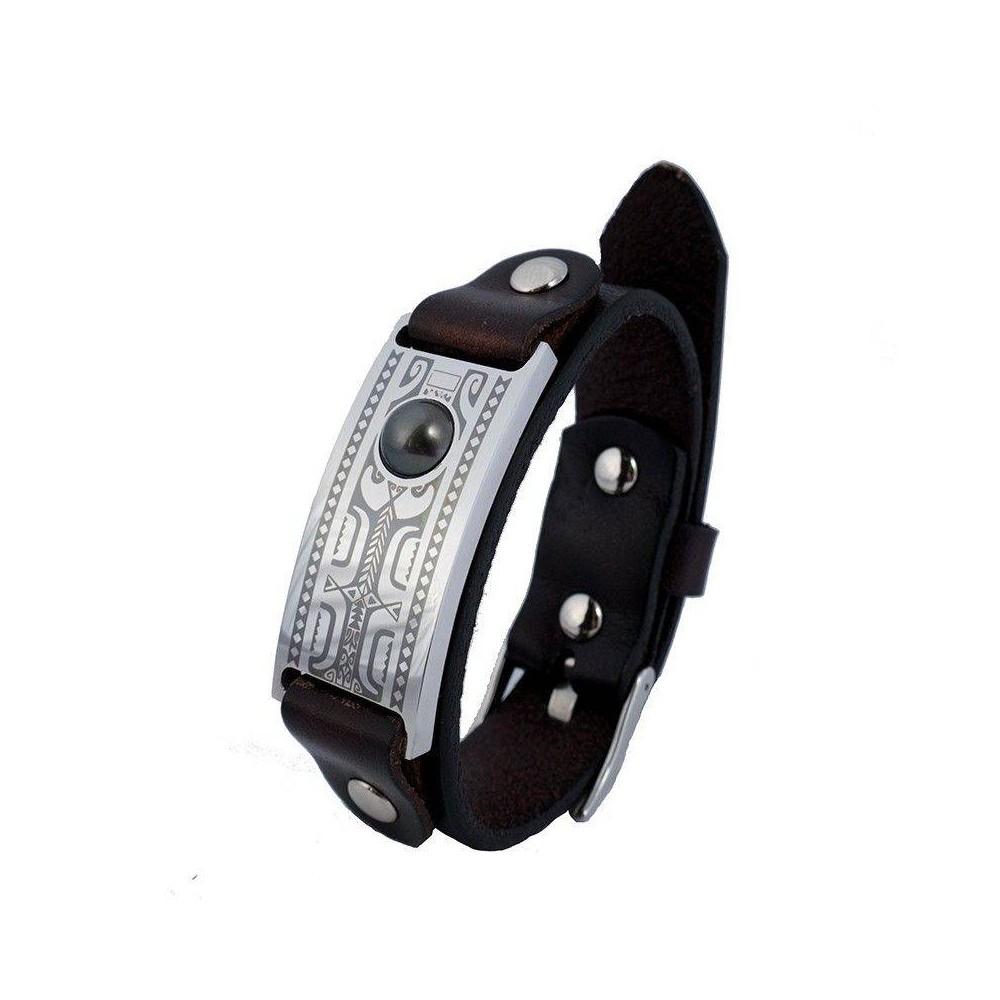 Bracelet homme FETII CUIR acier gravé Tiki et perle de Tahiti