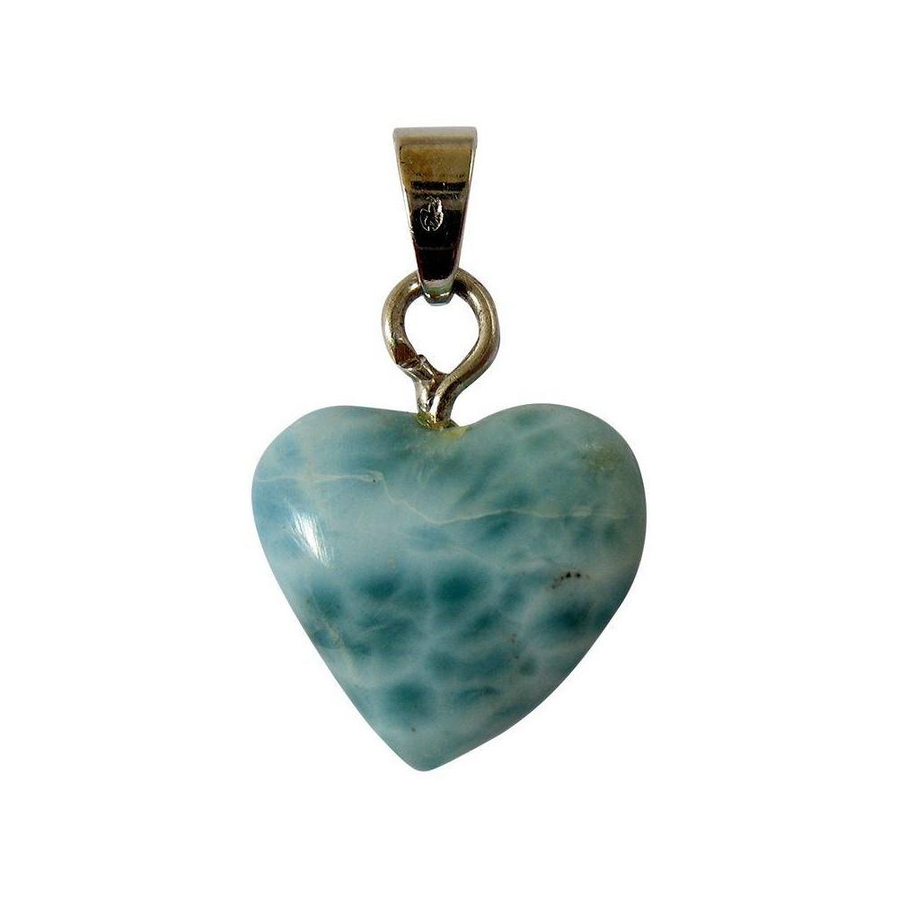 Pendentif  mini coeur de  Larimar. Argent 925