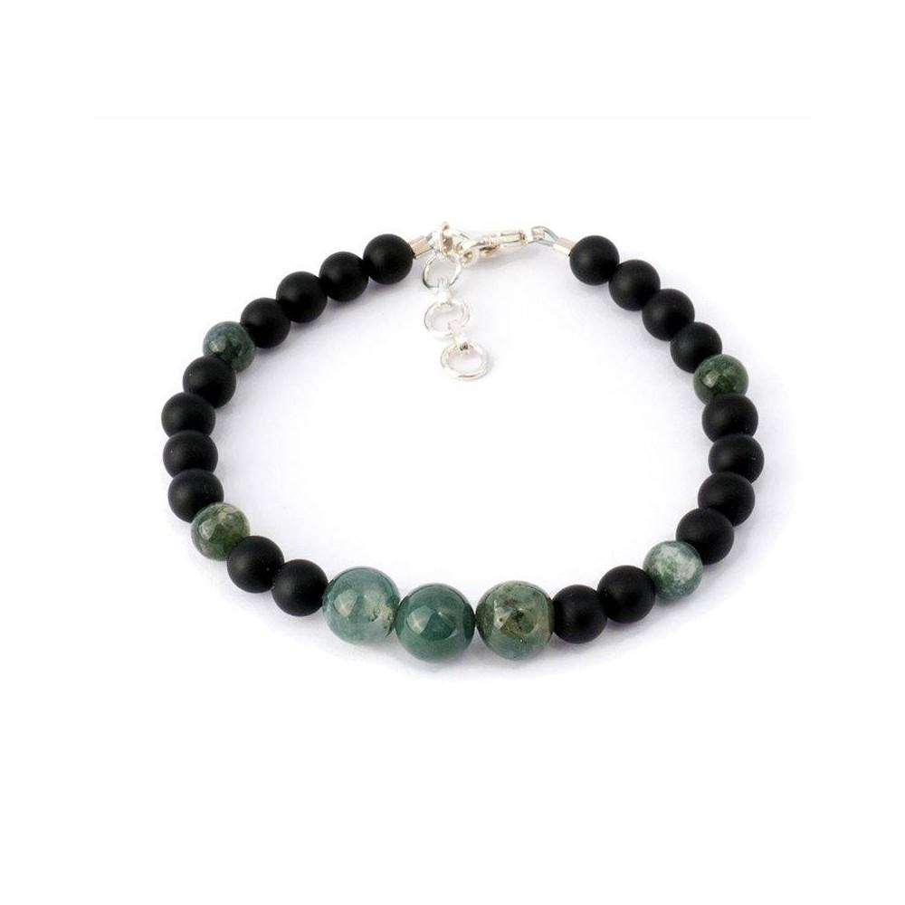 Bracelet de perles pour homme BRICE. Perles noires et vert emeraude