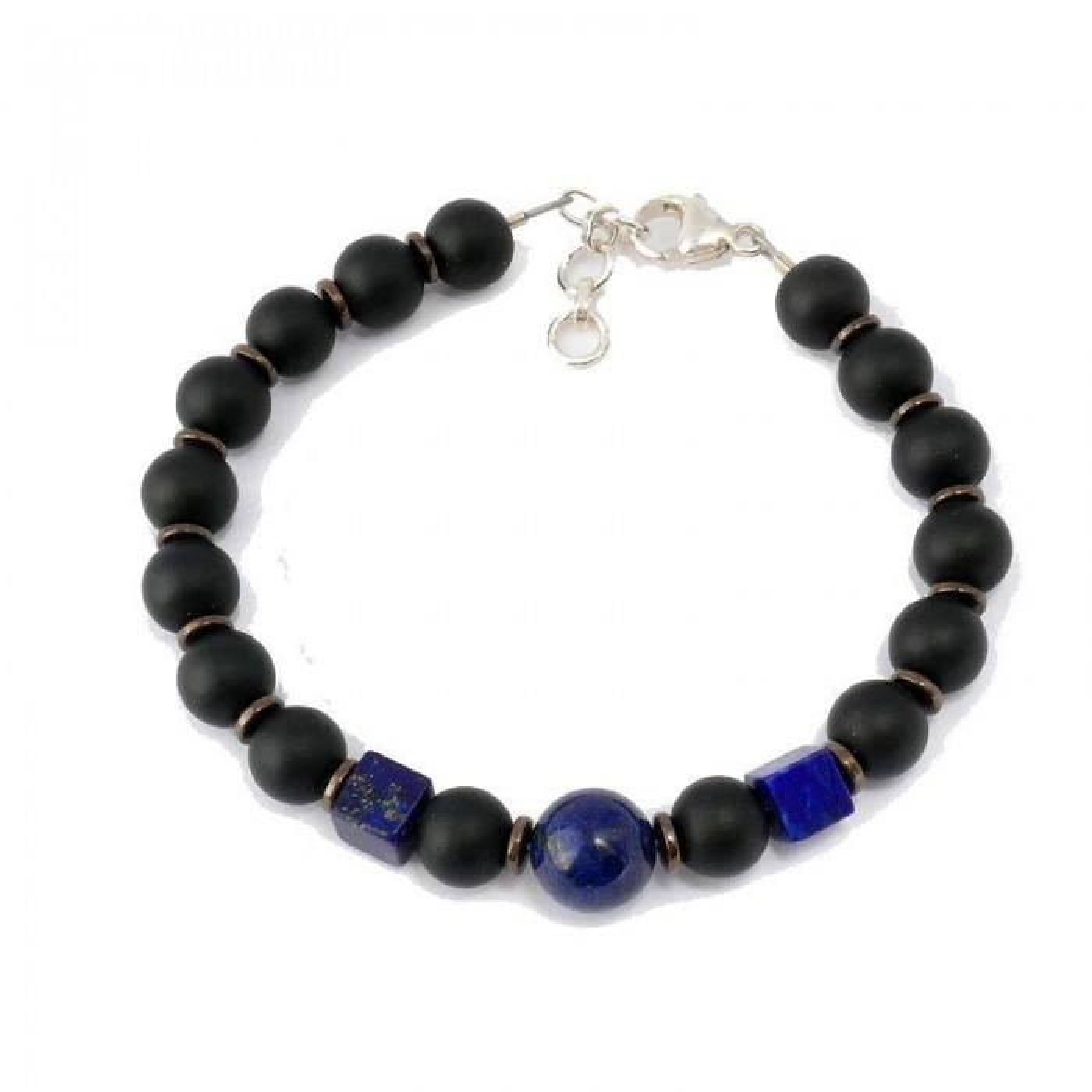 Bracelet de perles pour homme SAINT CLAIR. Perles noires et lapis