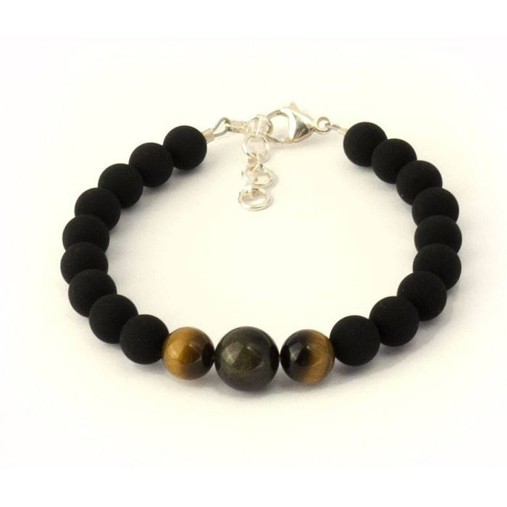 """Bracelet de perles pour homme ALENZO. Obsidienne, Å""""il de tigre"""