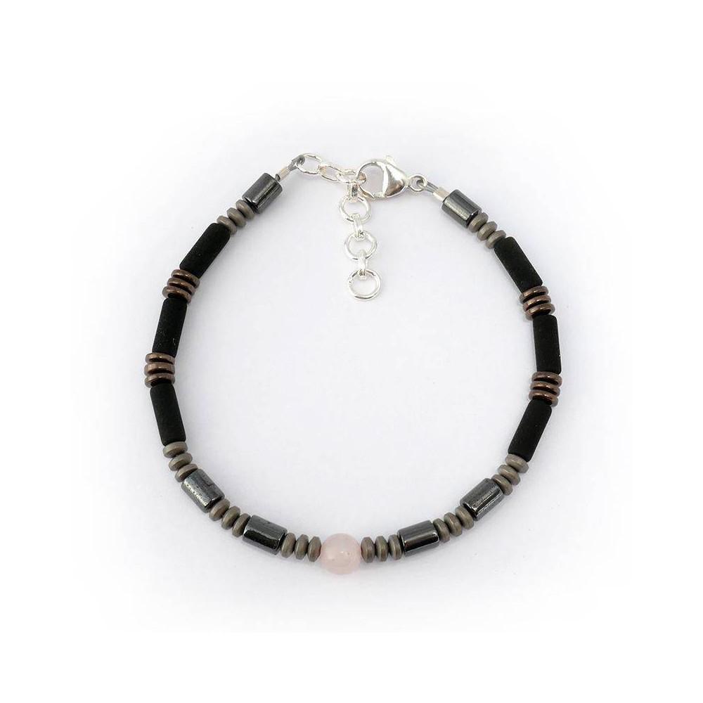 Bracelet de perles pour homme EARL Hématite et quartz rose