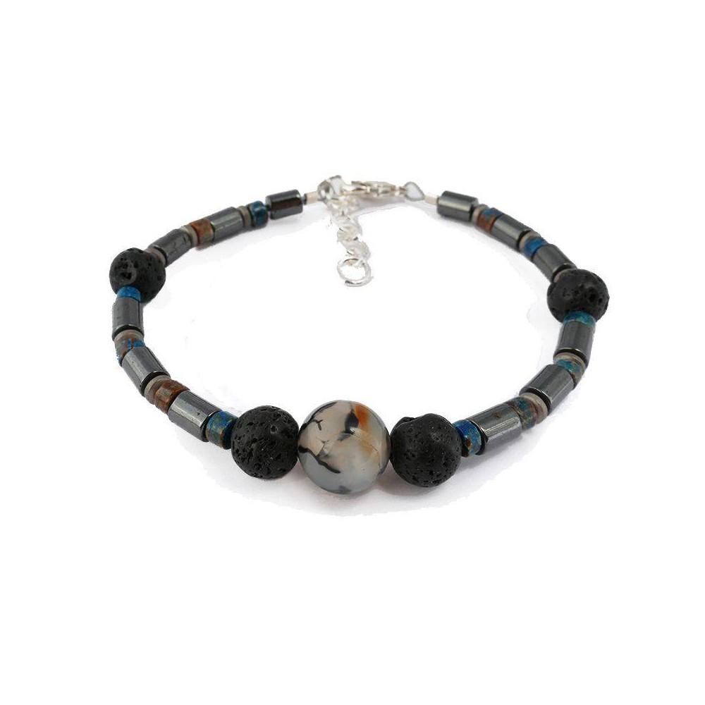 Bracelet de perles pour homme BARRY agathe, hématite et pierre de lave
