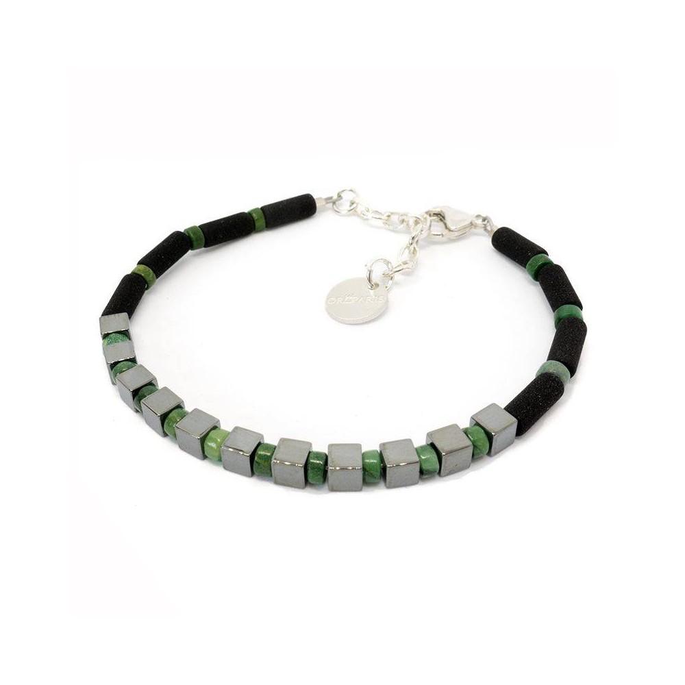 Bracelet de perles pour homme KENAN hématite et jaspe vert