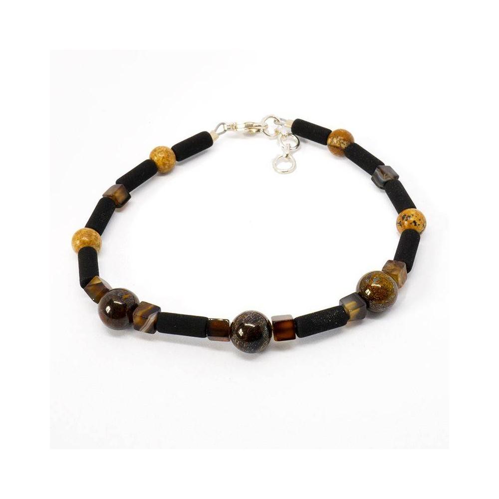 Bracelet de perles pour homme MILAN bronzite et pierre de lave