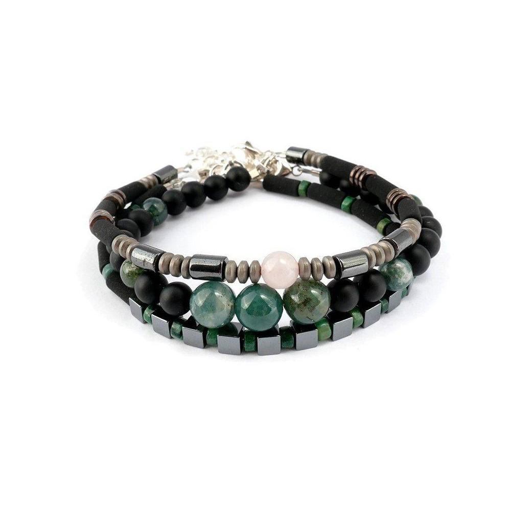 Harmonie verte de bracelets de perles pour homme