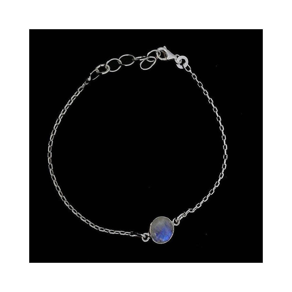 Moon Bracelet Pierre de lune arc en ciel. Argent massif