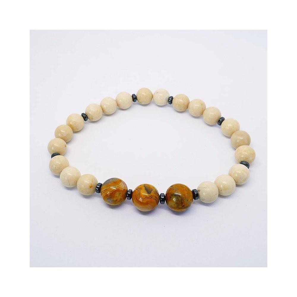 JASPER Bracelet de perles en jaspe pour homme ou femme