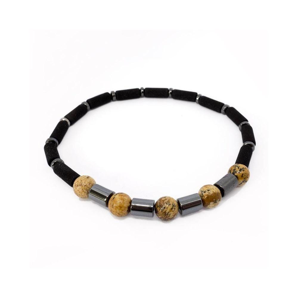 Bracelet de perles LAJA en jaspe,hématite et pierre de lave.