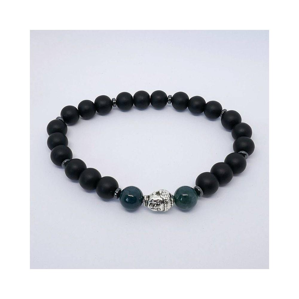 Bracelet de perles BUDDHA agate mousse et onyx noir mat
